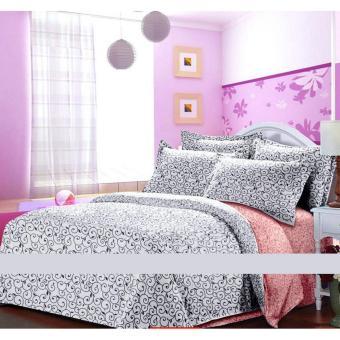 Alona Ellenov Ukir Light Maroon White Bed Cover Set – White