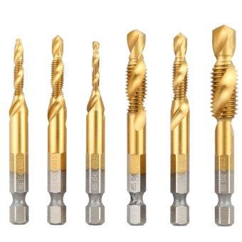 Harga 6 buah/set kualitas tinggi HSS 6542 TITANIUM dilapisi kayu tap bor metrik gabungan