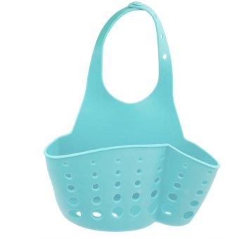 Plastic Kitchen Sink Drain Bathroom Hanging Storage Basket Holder Shelf Organizer Bag for Kitchen and Bathroom Blue
