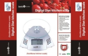 Intelliscales precise digital KITCHEN SCALE. Measures over 700 foods, ingredients & liquids. Great for diet & nutrition. FREE nutritional guide included. Oversized LCD. - intl
