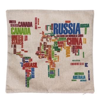 World Map Cotton Linen Square Throw Pillow Case Cushion Cover Home Decor Gifts