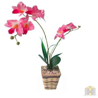 Bunga plastik jenis anggrek + pot · >>>>