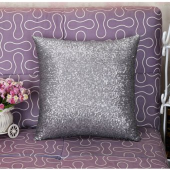 HomeGarden Pillow Case Solid Color Glitter Sequins