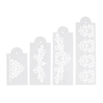 4 x sisi kue kue Fondant bunga dekorasi pernikahan stensil alat cetak - Internasional