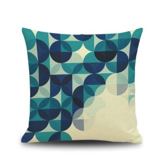 Blue Abstract Print Linen Pillow Cover Bed Pillow Cushion Case-5 - intl