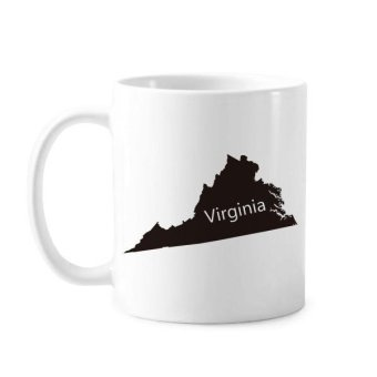 Virginia The United States Of America USA Map Silhouette Classic Mug White Pottery Ceramic Cup Gift Milk Coffee With Handles 350 ml - intl