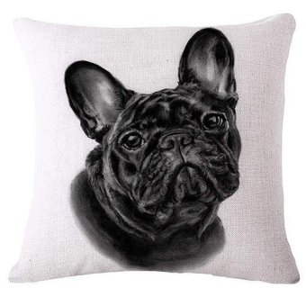 Sanwood Cute Pug Dog Linen Pillow Case Car Sofa Square Cushion Cover Home Room Decor 10 (Multicolor) - intl