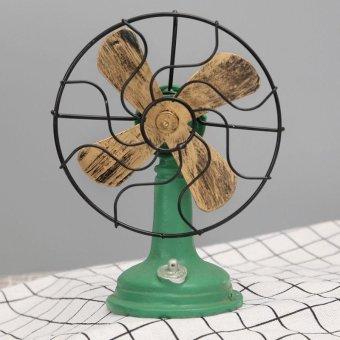 Vintage Retro Resin Metal Miniature Cool Fan Model Decor Props Home Decoration Z - intl