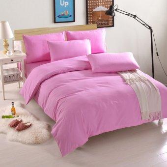 2m 3pcs/4pcs Aloe Cotton Peach Fabric India Cotton Bed Sheet Solid Color Bedding Queen King Size Duvet Cover Set - intl