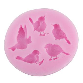 yukufus 5 Cavity Bird Shape Party Silicone Cake Molds Decoration Fondant Baking Mold,Pink