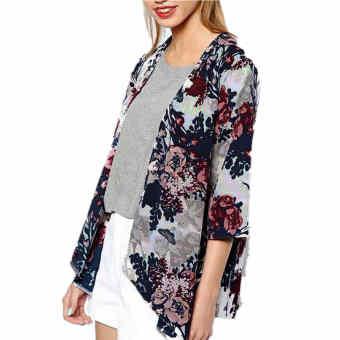 Five Star Store ZANZEA Women Floral Loose Coat Chiffon Kimono Tops