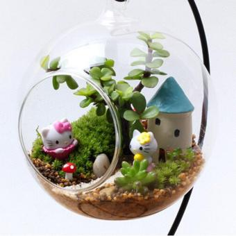 Clear Round Glass Vase Hanging Bottle Terrarium Decor 12cm With Holder - intl