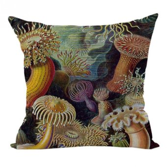 Nunubee Sea Design Cotton Linen Home Square Pillow Decor Throw Pillow Case Sofa Cushion Cover Coral - Intl - Intl