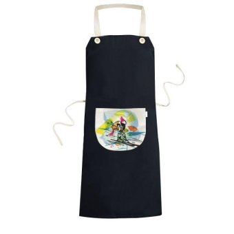 Winter Sport Synchronized Skiing Sports Freestyle Skiing Watercolor Sketch Illustration Cooking Kitchen Black Bib Aprons With Pocket for Women Men Chef Gifts - intl