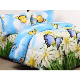 Alona Ellenov Butterfly Garden Sprei Bahan Katun – Biru