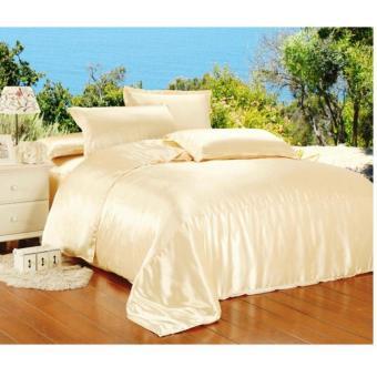 jaxine bedcover set satin/katun jepang tinggi 40 plain ivory