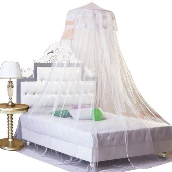 Effective In Preventing Zika Virus,Indoor Condole Top Lace Princess Dome Mosquito Nets Curtain Net (White) (Intl) - intl