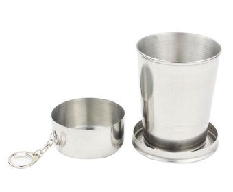 miyifushi Stainless Steel Three Layer Medium Sized Collapsible Pocket Cup Short Glass(Medium Size) - intl