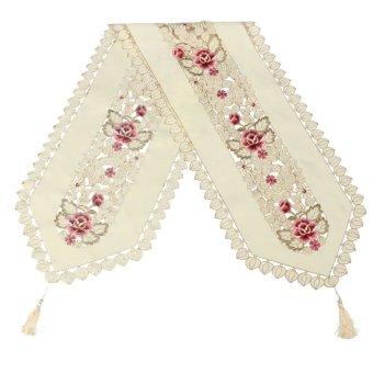 Harga Rectangle Flower Table Runners Mat Tablecloth Tassel Wedding Birthday Party - intl