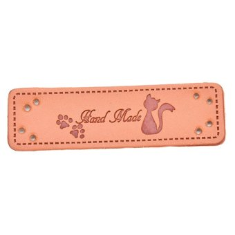 """2X Synthetic PU Leather Labels """"Hand Made"""" tag Sewing Craft DIY MM - intl"""