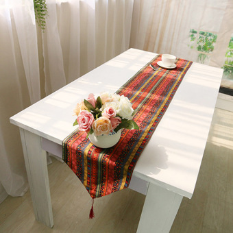 HKS 1X Auff1a30*140 Pastoral National Wind Retro Cotton Coffee Table Flag - intl
