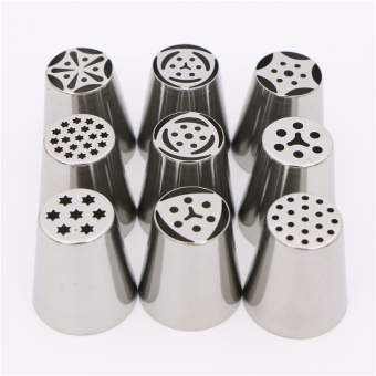 9Pcs/Set Russian Tulip Nozzles Flower Cupcakes Rose Pastry DIY Cake Decorating Tips Icing Piping Nozzles Russian Boquillas Rusas - Intl