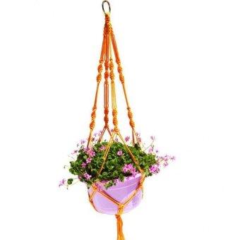 BolehDeals Plant Pot Hanger Macrame Jute Rope for In/Outdoor Ceiling Holder Yellow - intl