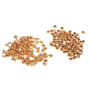 100Sets 8 x 8mm Double Cap Rivet Leather Craft Studs Spike Decoration (Gold) - intl