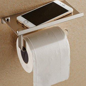 Stainless Steel 304 Bathroom Roll Toilet Paper Holder Mobile Phone Holder Bathroom Shelf Holder Rack Toilet Tissue Boxes Silver 18*9.4*6.5CM - intl
