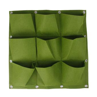 9 Pocket Hanging Vertical Yard Wall Planter Bag Indoor/Outdoor Herb Pot GRN