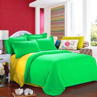 Jaxine Bedcover Katun Prada Polos Kuning Hijau