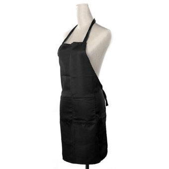 HL Solid Unisex Aprons With Front Pocket (Black)