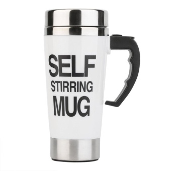 Beau 350ml Stainless Steel Self Stirring Mug Auto Mixing Tea Coffee Cup Office White - intl