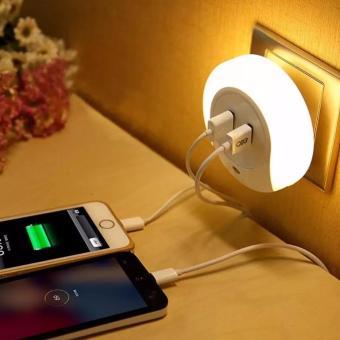 Neo Lampu Tidur Smart Led Dual USB Charger Untuk IPhone Android - Putih