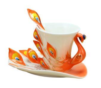 ooplm Peacock Mugs Hand Crafted China Enamel Porcelain Tea Mug Coffee Cup Set with Spoon and Saucer (Orange)