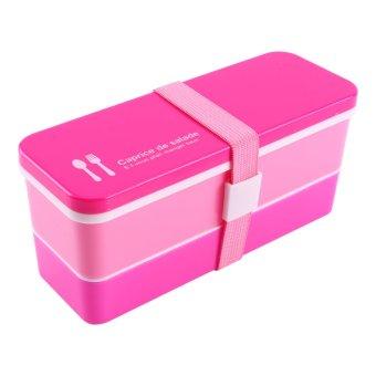 Harga Lapisan Ganda Kotak Makan Siang Plastik Wadah Penyimpanan Makanan (Merah)