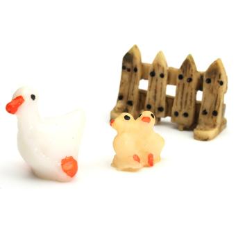 Set 3 potongan ornamen taman patung miniatur Resin kerajinan Pot tanaman dekorasi peri bebek tiga potong - Internasional