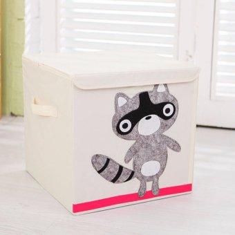 High Grade Cotton Fabric Storage Box Kids Toys Cartoon Container Raccoon - intl