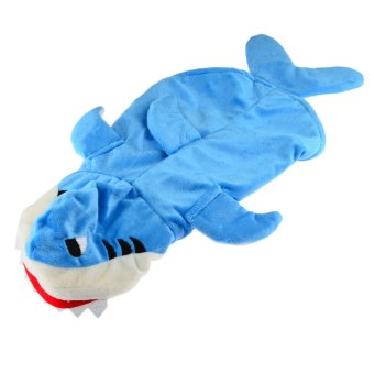 360DSC Plush Velvet 3D Shark Dress Up Costume Pet Puppy Dog Cat Hoodie Coat Apparel Clothes - Blue L (Intl)