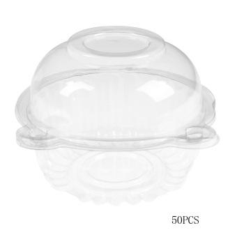50 Buah Kue Kue Mangkuk Plastik Single Pemegang case Kotak Cangkir Pesta Polong
