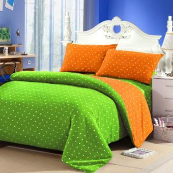 Jaxine Sprei Tinggi 25cm Motif Polkadot Warna Green Oranye