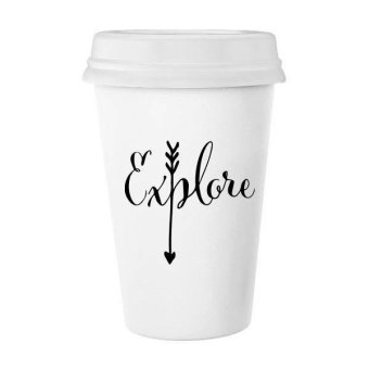 Explore Arrow Creative Design Motivation Illustration Pattern Classic Mug White Pottery Ceramic Cup Milk Coffee Cup Gift 350 ml - intl