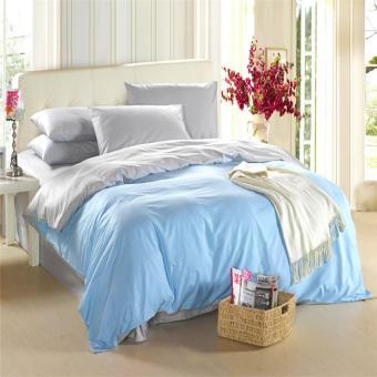 jaxine bedcover set katun/satin jepang tinggi 40 baby blue white