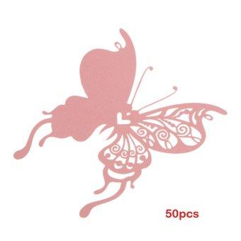50 buah tempat kupu-kupu pendamping pesta pernikahan gelas anggur pada kertas berwarna merah muda
