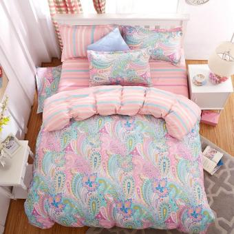Bedding Set 5 Size Green Spirit Bedding Set Duvet Cover Set Korean Bed Sheet Duvet Cover Pillowcase Pink Bed Cover Bed Linen (011) - intl