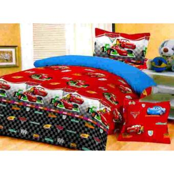 Jaxine Bed Cover Katun Motif The Cars Red