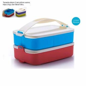 Tupperware Small Click To Go Merah Biru