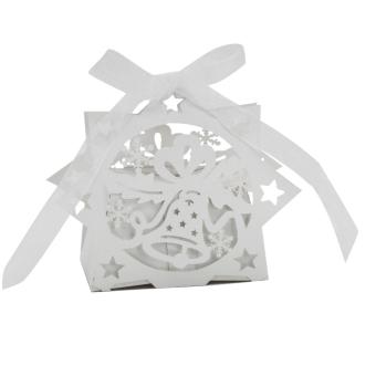 BolehDeals 20pcs Christmas Bell Gift Candy Boxes w/ Ribbon Wedding Party Favor White - intl