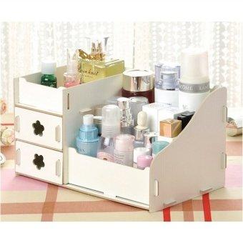 Harga Make Up Kosmetik Laci Kayu Serbaguna Model Rak Case Kotak Penyimpanan Perhiasan Penyelenggara (Putih