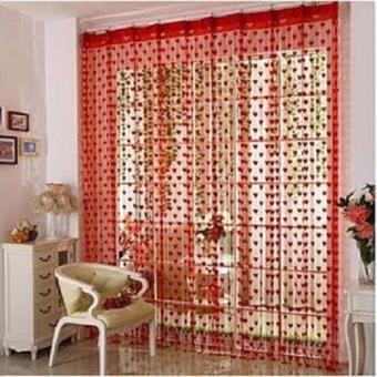 Harga Tirai Benang Motif Love Warna Merah Maroon Mawar88shop Rumah Source Harga LARIS49 .